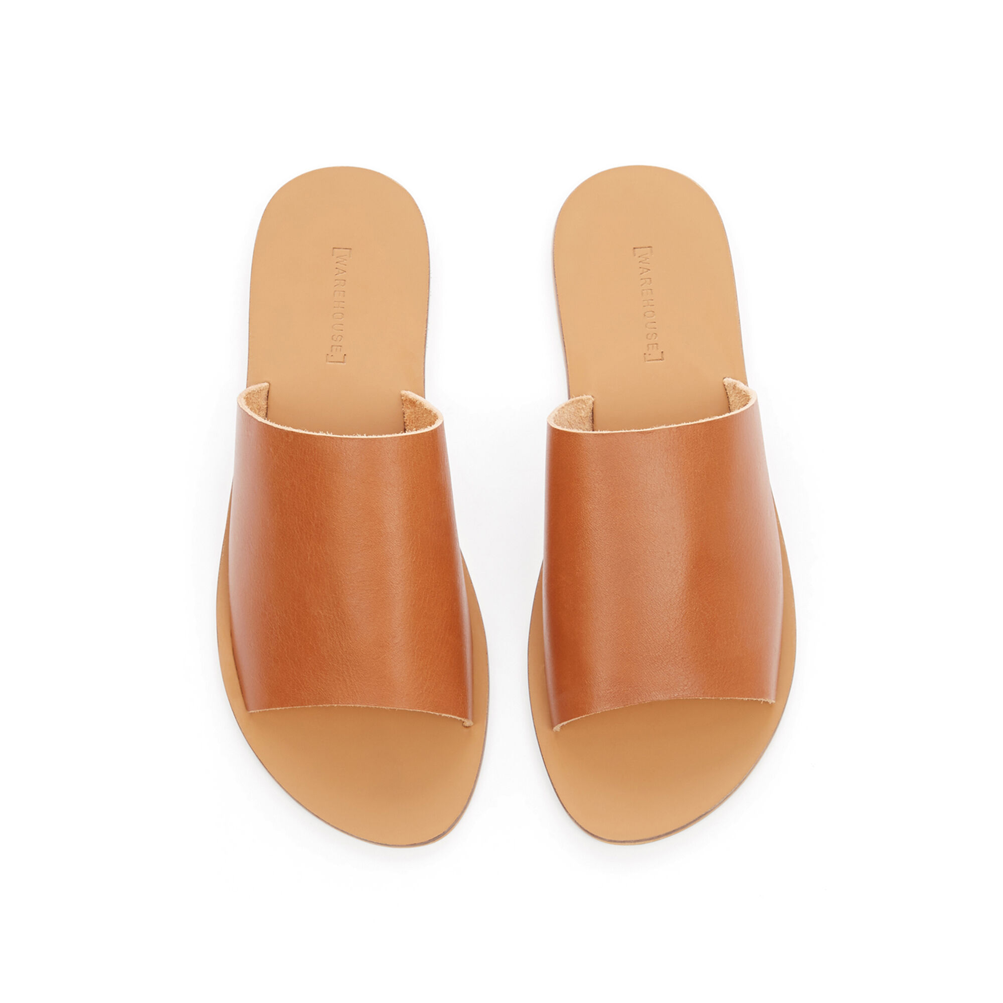 Warehouse, LEATHER SLIDER SANDALS Tan 1