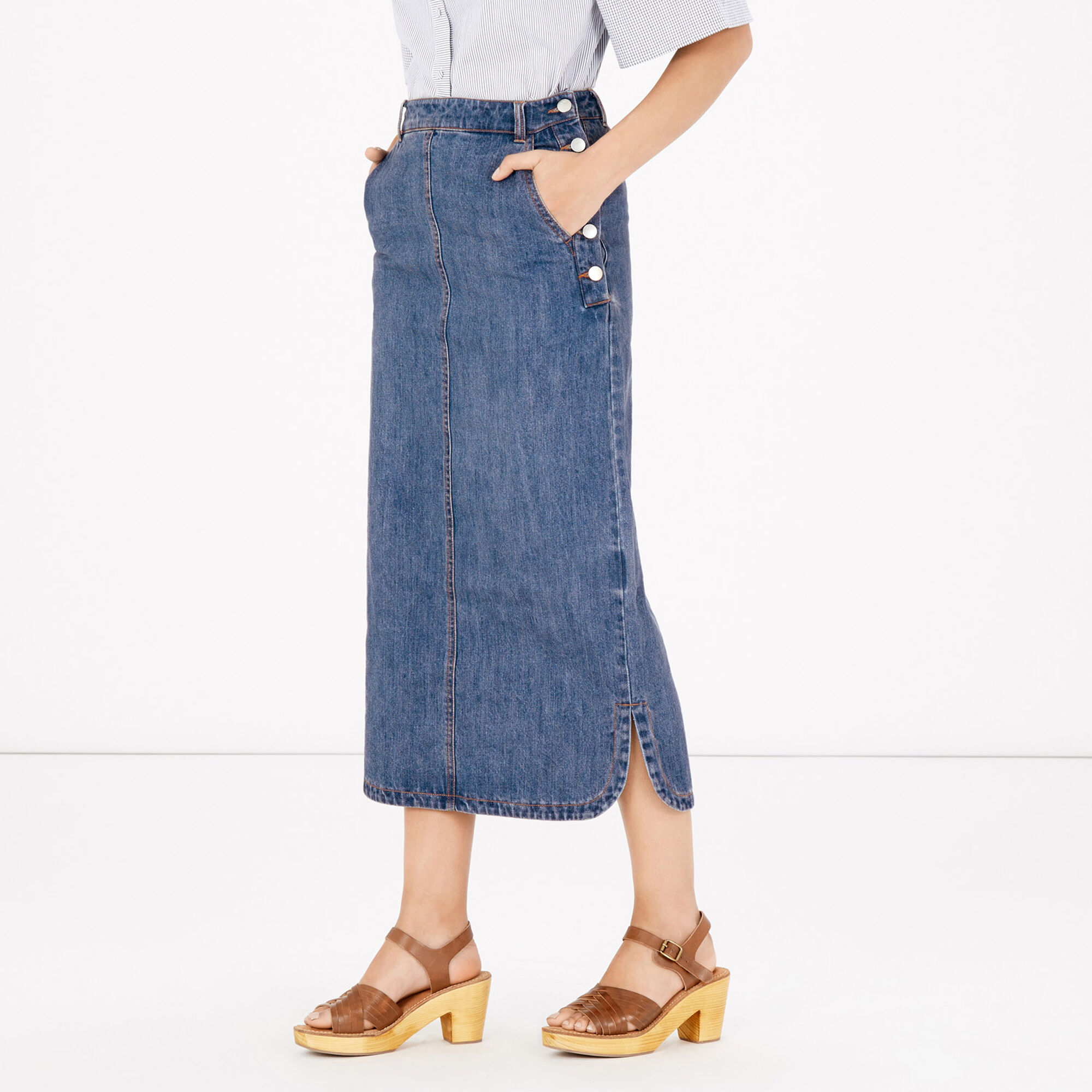 maxi denim skirt warehouse
