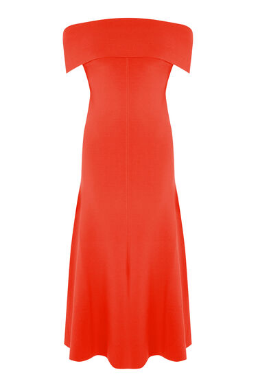 Warehouse, DEEP BARDOT DRESS Bright Red 0