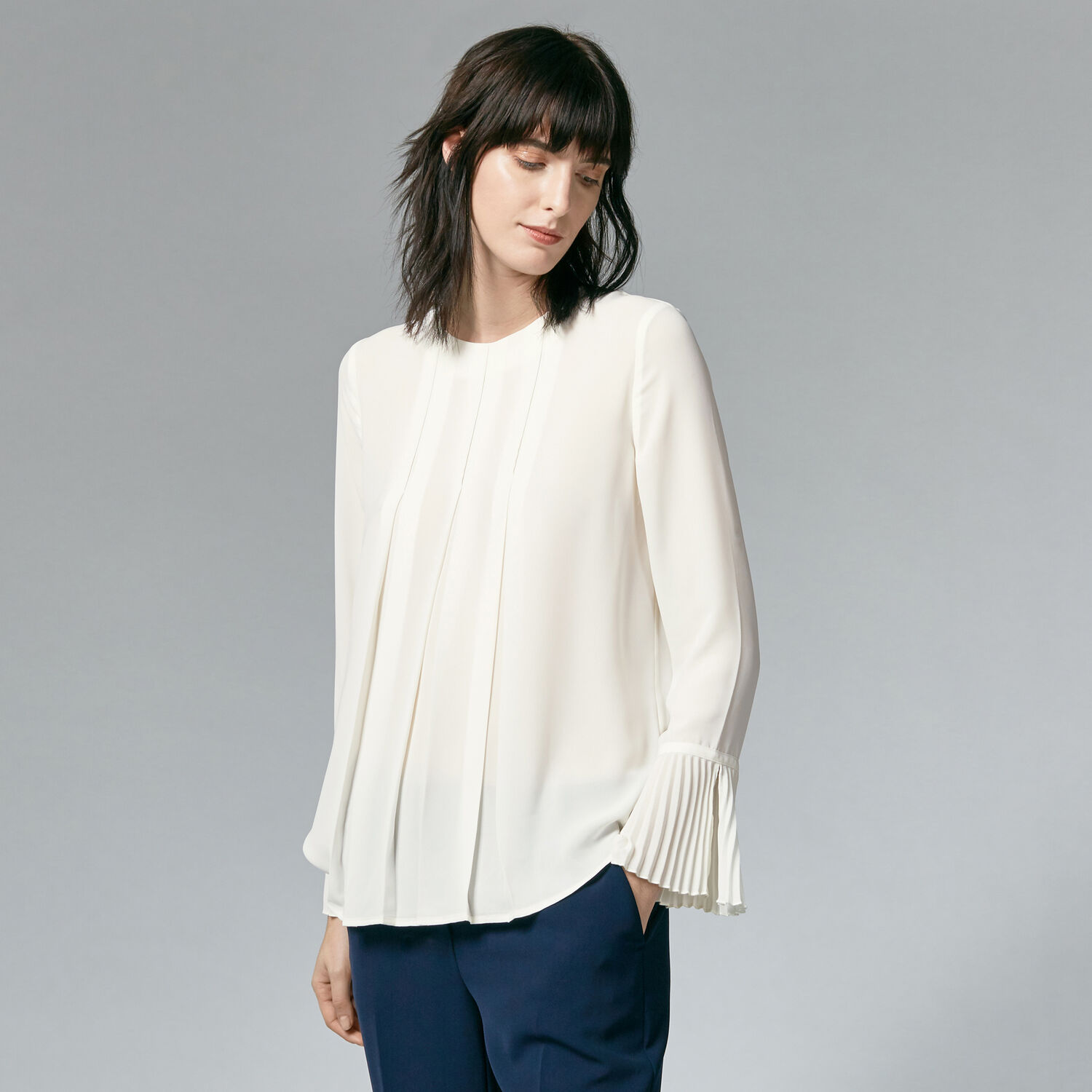 Warehouse, BOX PLEAT TOP Cream 1