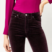 Warehouse, HIGH RISE VELVET SKINNY JEANS Berry 4