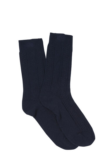 Warehouse, CABLE KNIT SOCKS Navy 0