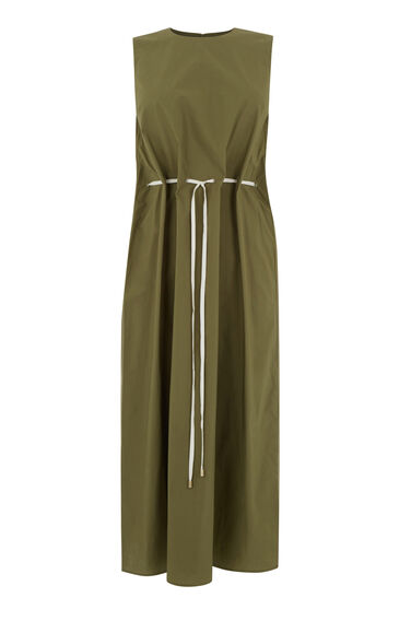 Warehouse, DRAWSTRING WAIST MIDI DRESS Khaki 0