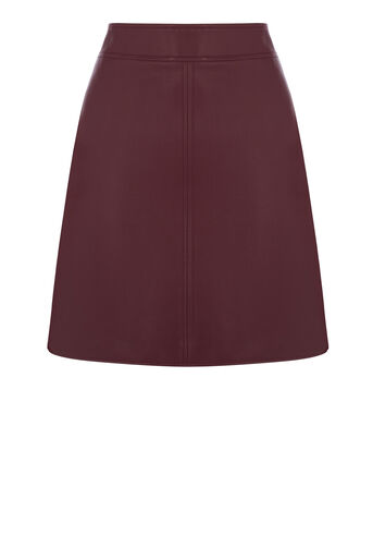 Warehouse, Faux Leather A Line Skirt Dark Red 0