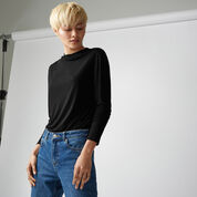 Warehouse, GROWN ON NECK JERSEY TOP Black 1