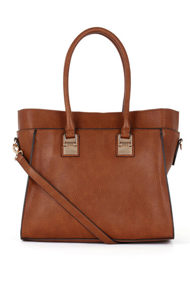Warehouse, Metal Plate Tote Bag Tan 0