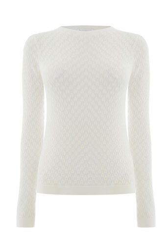 Warehouse, POINTELLE PUFF SLEEVE JUMPER Cream 0