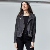 Warehouse, Suede Biker Jacket Dark Grey 1