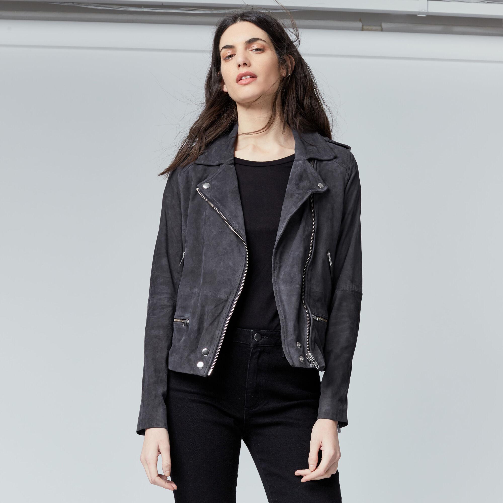 Warehouse, Suede Biker Jacket Dark Grey 1