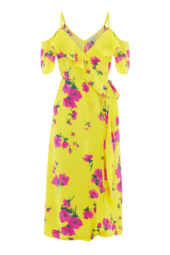 Warehouse, DELIA FLOWER FRILL WRAP DRESS Yellow 0