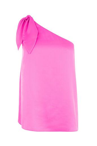 Warehouse, TIE ONE SHOULDER TOP Bright Pink 0