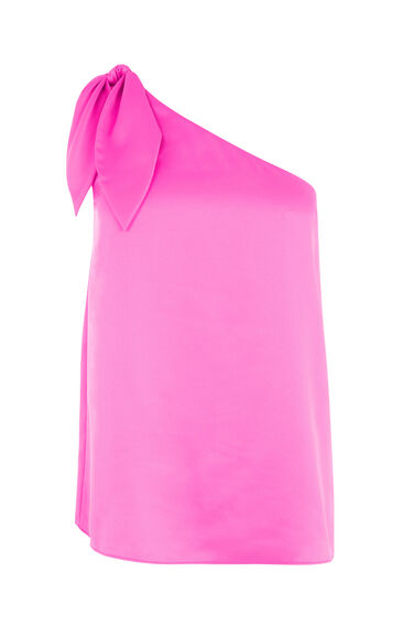 Warehouse, TIE ONE SHOULDER TOP Bright Pink 0