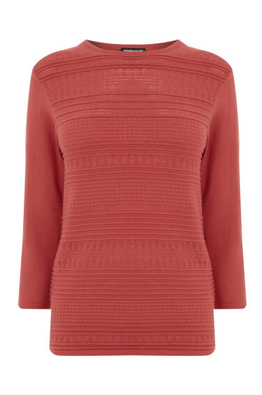 Warehouse, PRETTY STITCH CREW JUMPER Dark Pink 0