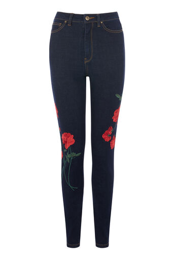 Warehouse, RED EMBROIDERED SKINNY JEANS Dark Wash Denim 0