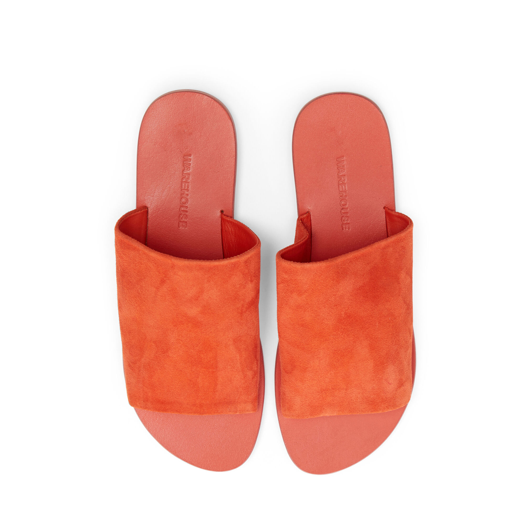 Warehouse, SUEDE MULE SANDALS Bright Red 1