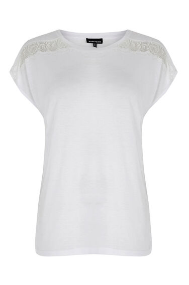 Warehouse, LACE AND WOVEN MIX TEE White 0