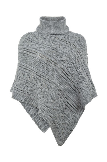 Warehouse, Cable Knit Poncho Light Grey 0