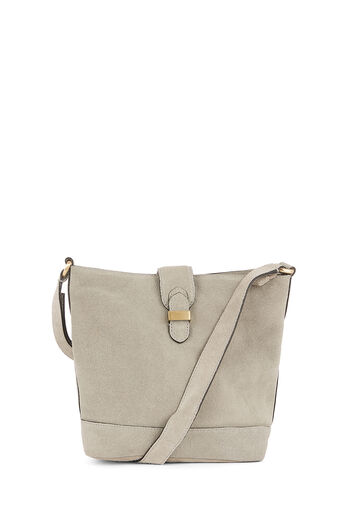 Warehouse, SLOUCHY SUEDE BUCKET BAG Light Grey 0