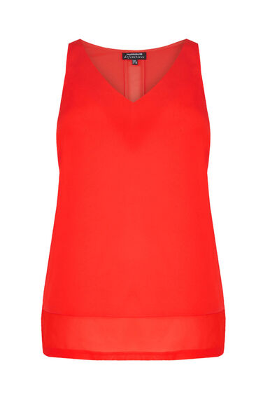 Warehouse, CHIFFON DETAIL VEST Light Red 0