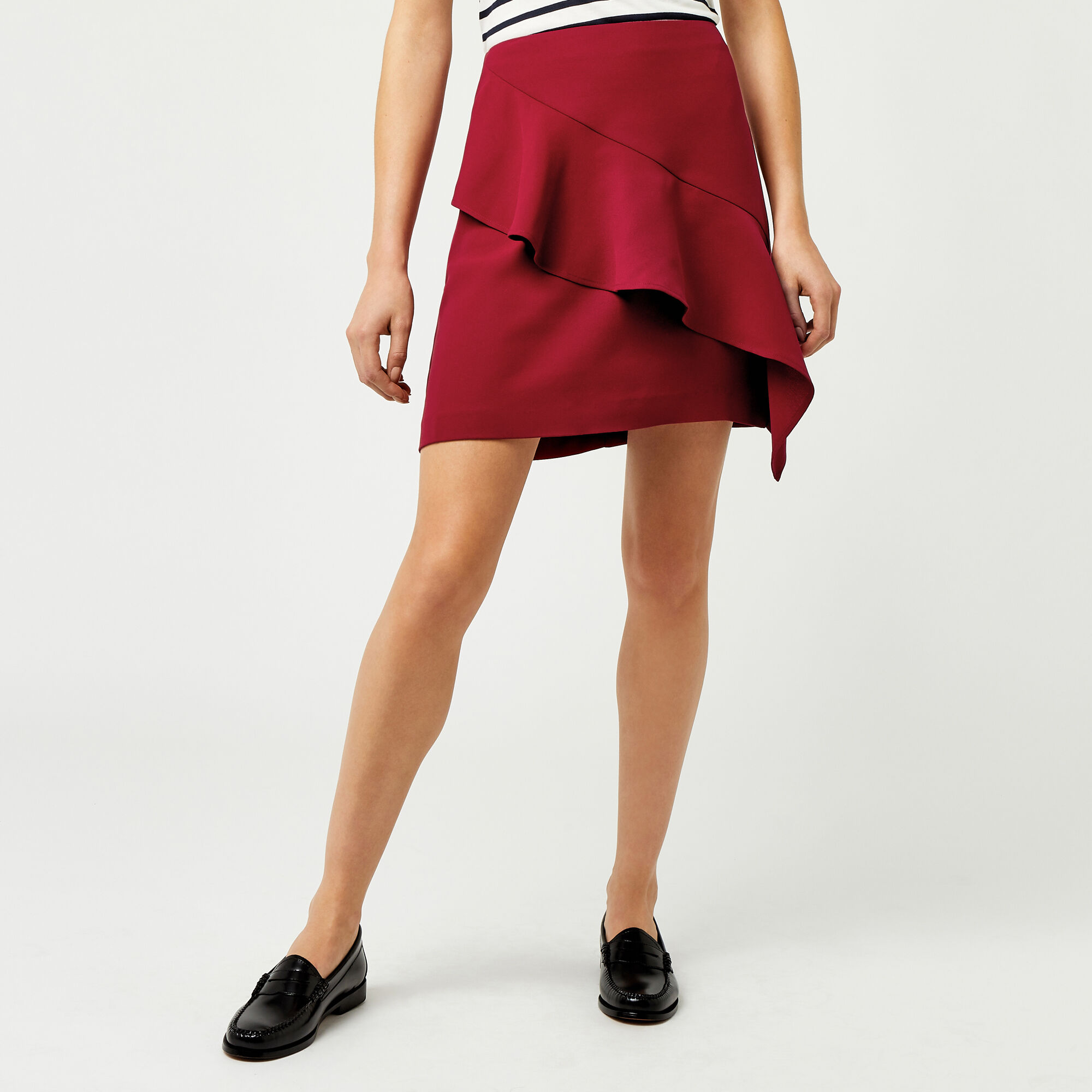 Warehouse, RUFFLE SKIRT Bright Red 1