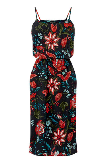 Warehouse, Botanical Drawn Floral Dress Black Pattern 0