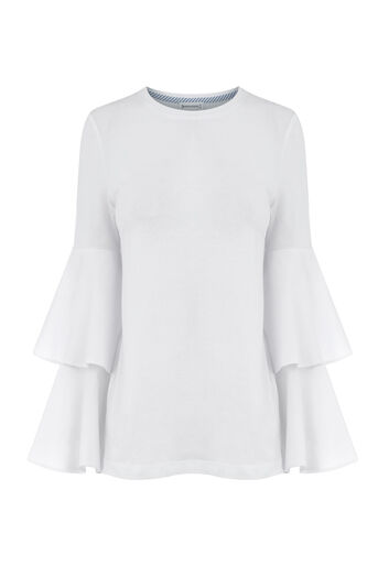 Warehouse, TIERRED SLEEVE TOP White 0