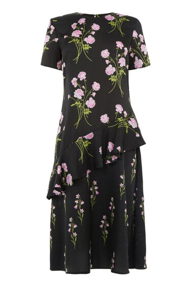 Warehouse, ENGLISH ROSE DRESS Black Pattern 0