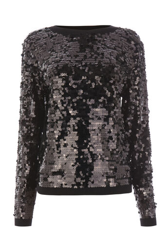 Warehouse, SEQUIN DISC JUMPER Black 0