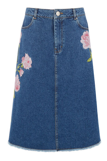 Warehouse, Embroidered Denim Skirt Mid Wash Denim 0