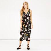 Warehouse, Scatter Floral Sleeveless Midi Black Pattern 1