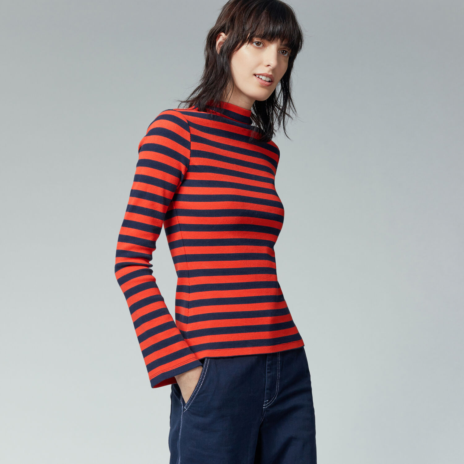 Warehouse, STRIPE RIB TOP Red Stripe 1