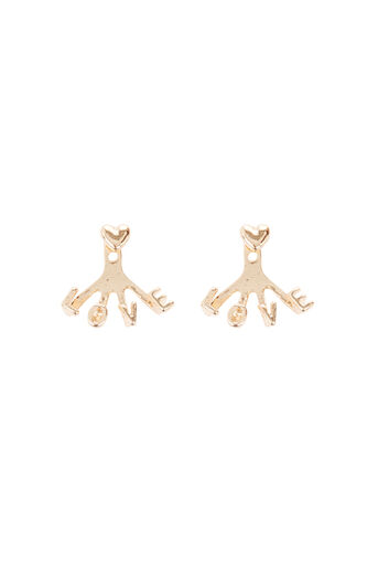 Warehouse, LOVE EAR JACKET EARRINGS Gold Colour 0