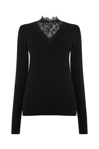Warehouse, LACE INSERT V NECK JUMPER Black 0