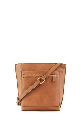 Warehouse, DOUBLE ZIP CROSSBODY BAG Tan 0