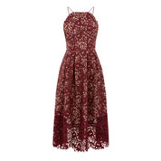 Warehouse, LACE HALTER DRESS Berry 0