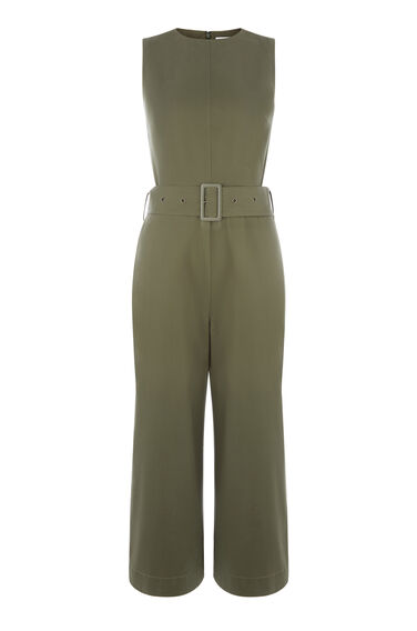 Warehouse, COTTON D RING JUMPSUIT Khaki 0