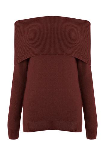 Warehouse, SOFT DEEP BARDOT JUMPER Berry 0
