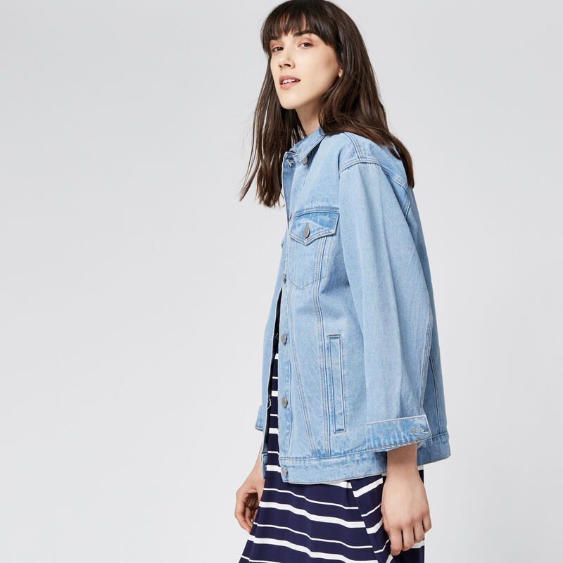 Warehouse, Long Denim Jacket Light Wash Denim 1