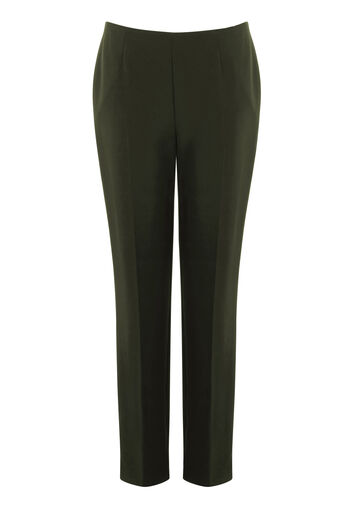 Warehouse, CLEAN FRONT SLIM LEG TROUSERS Dark Green 0