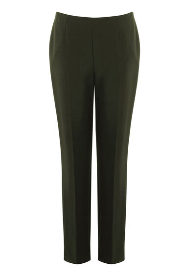 Warehouse, CLEAN FRONT SLIM LEG TROUSER Dark Green 0
