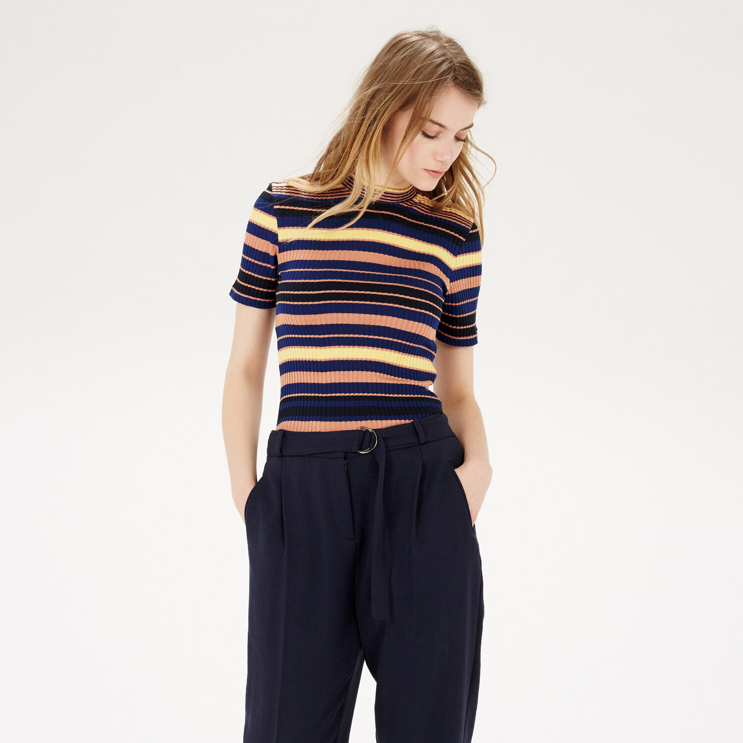 Warehouse, Stripe Ribbed Top Multi 1