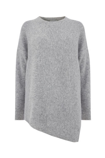 Warehouse, ASYMMETRIC RIB JUMPER Light Grey 0