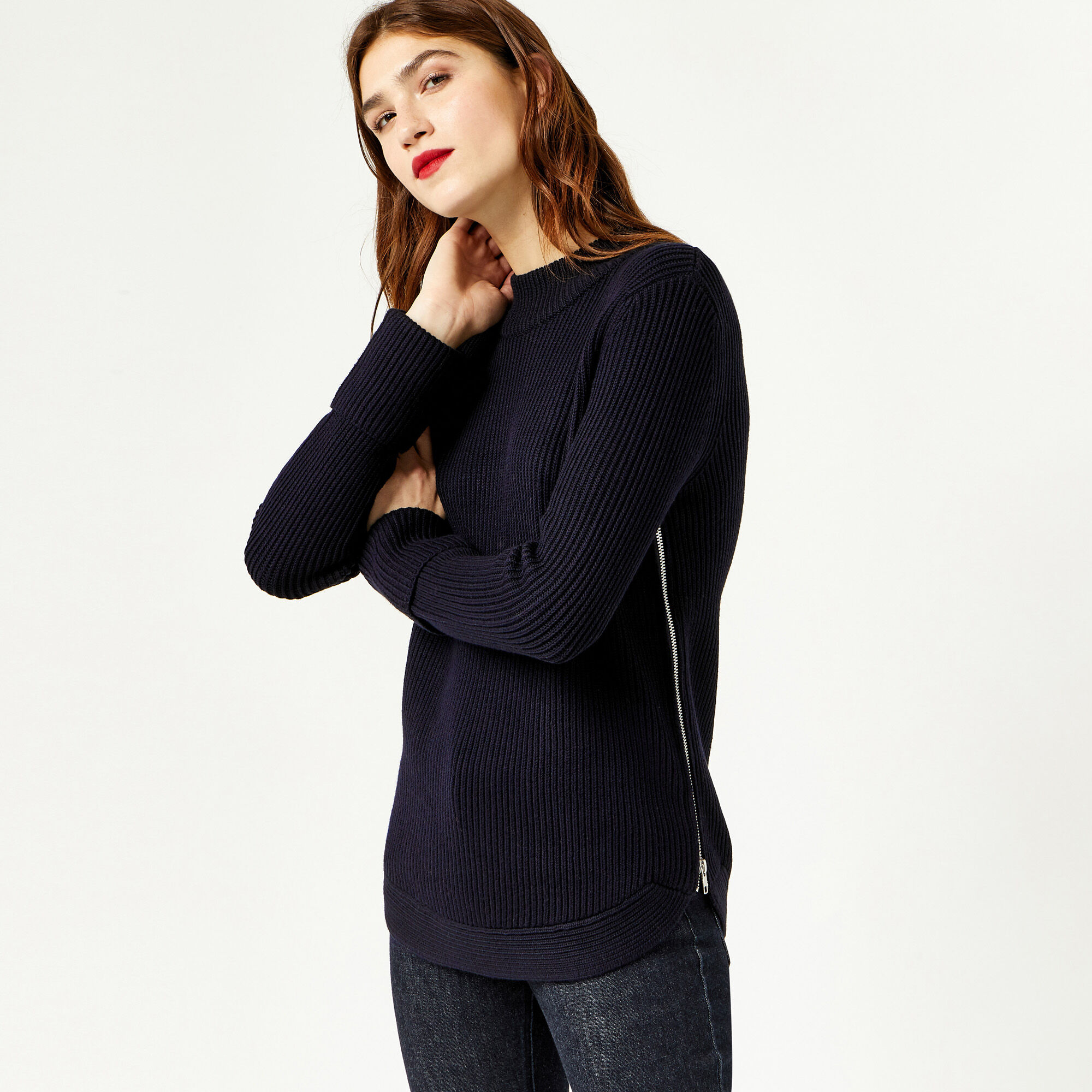 Warehouse, RIBBED ZIP SIDE JUMPER Navy 1