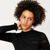 Warehouse, POINTELLE HIGH NECK JUMPER Black 4