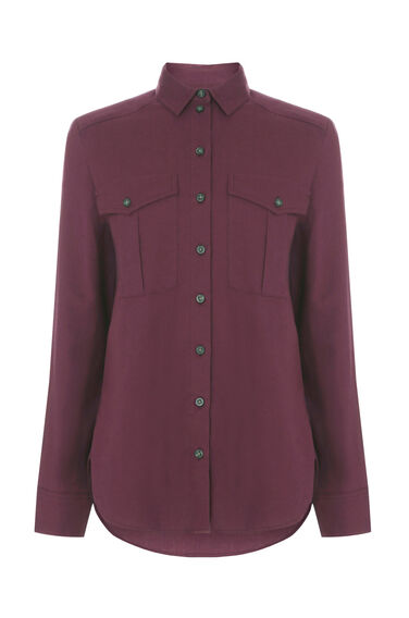 Warehouse, RELAXED POCKET DETAIL SHIRT Berry 0