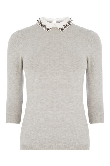 Warehouse, EMBELLISHED COLLAR JUMPER Light Grey 0