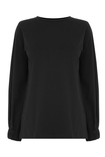 Warehouse, ELASTICATED CUFF TOP Black 0