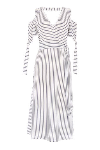 Warehouse, STRIPE TIE DETAIL MIDI DRESS Blue Stripe 0