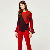 Warehouse, CUT OUT BLOCK PRINT TOP Red Pattern 2
