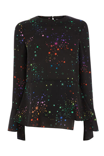 Warehouse, RAINBOW PEPLUM HEM TOP Black Pattern 0